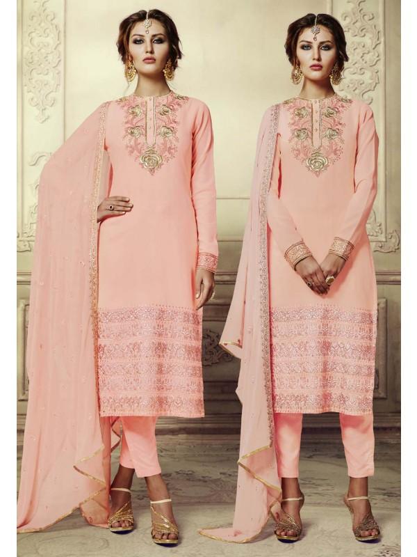 Peach Color Georgette Fabric Incredible Unstitched Salwar Kameez