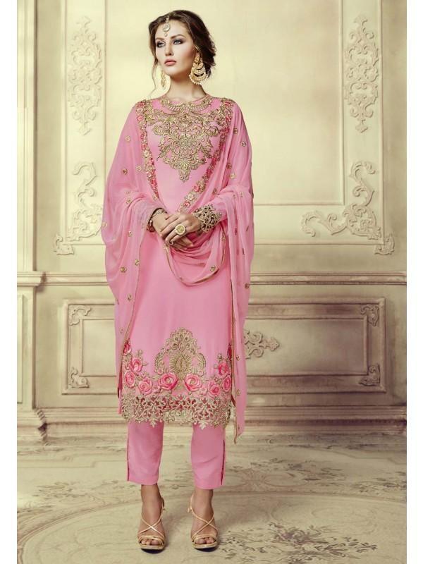 Nice Looking Pink Color Designer Salwar Kameez in Georgette Fabric