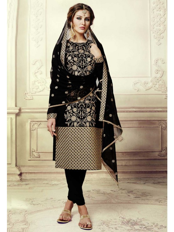 Straight Cut Style Incredible Salwar Kameez in Black Color & Art Silk Fabric