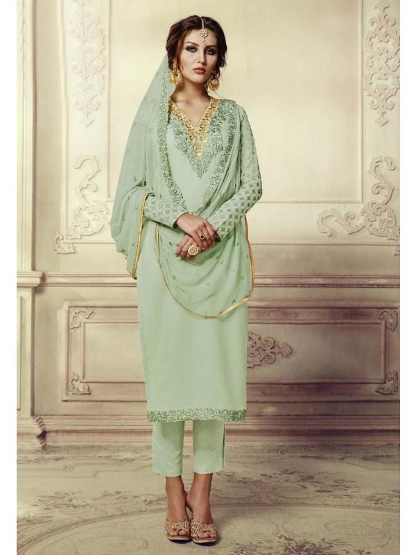 Incredible Salwar Kameez in Green Color & Georgette Fabric