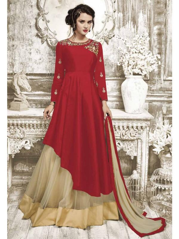 Attractive Looking Red Color Designer Salwar Kameez