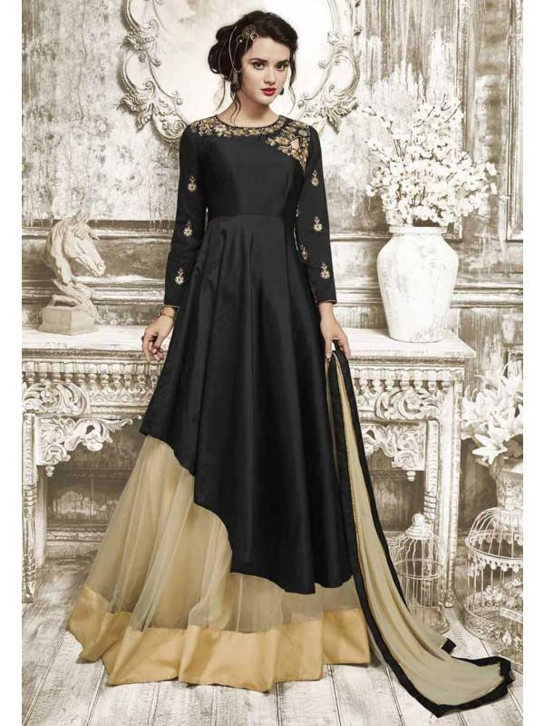 Black Color with Silk Fabric Astounding Unstitched Salwar Kameez