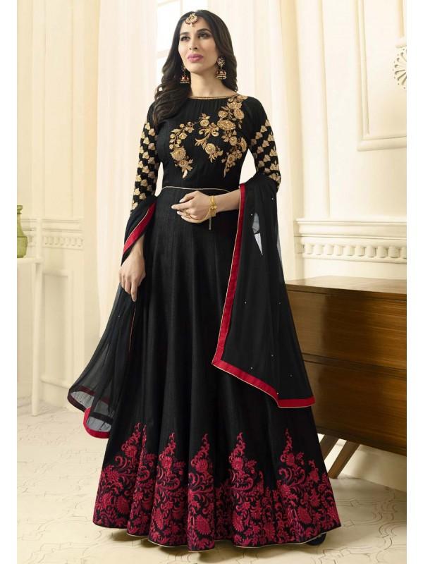 Anarkali Style Black Color Raw Silk Wonderful Salwar Kameez
