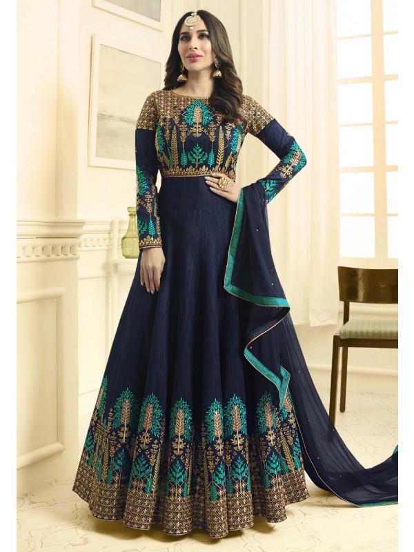 Anarkali Style Blue Color Designer Salwar Kameez
