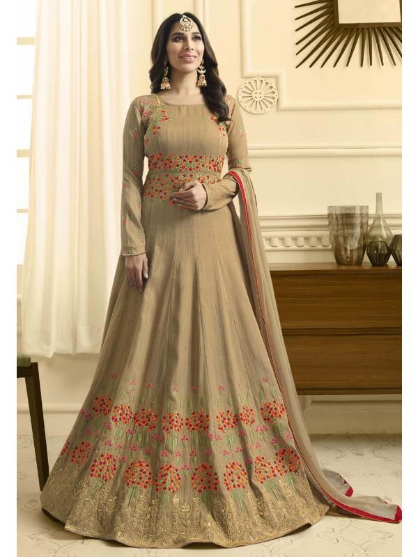 Nice Looking Beige Color Anarkali Salwar Kameez