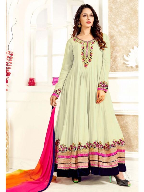 Anarkali Style Off White Color Georgette Astounding Unstitched Salwar Kameez