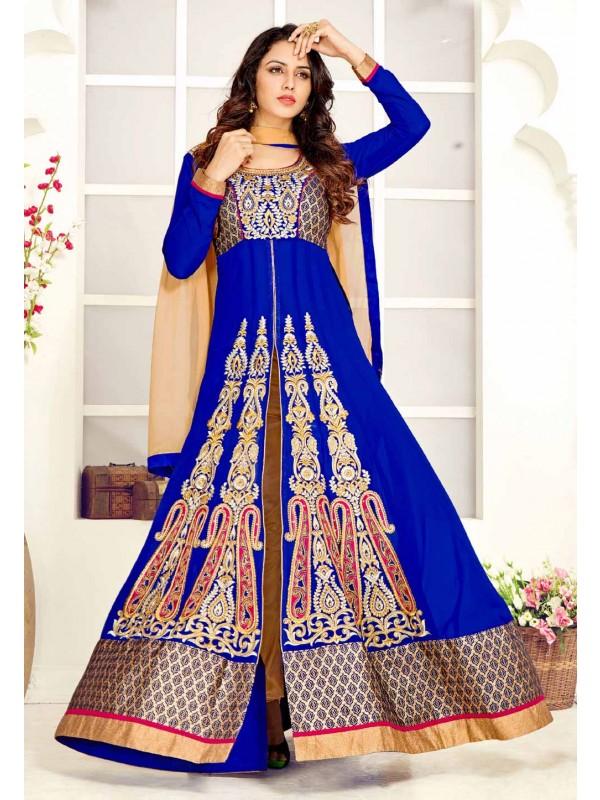 Blue Color Georgette Designer Salwar Kameez