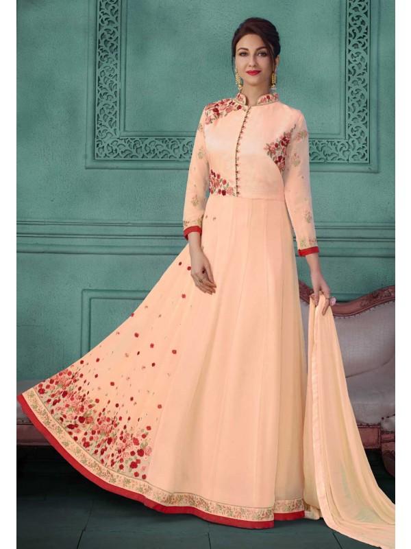 Peach Color Party Wear Salwar Kameez