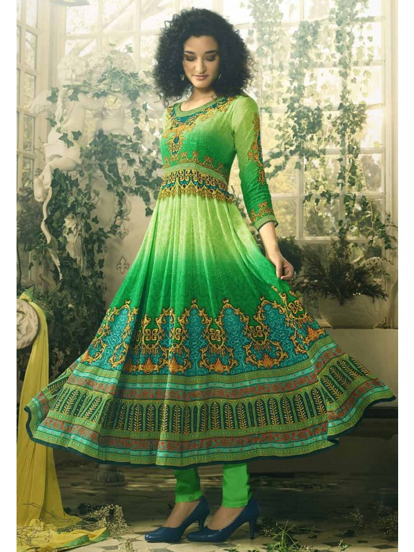 Traditional Look Green Color Readymade Salwar Kameez.