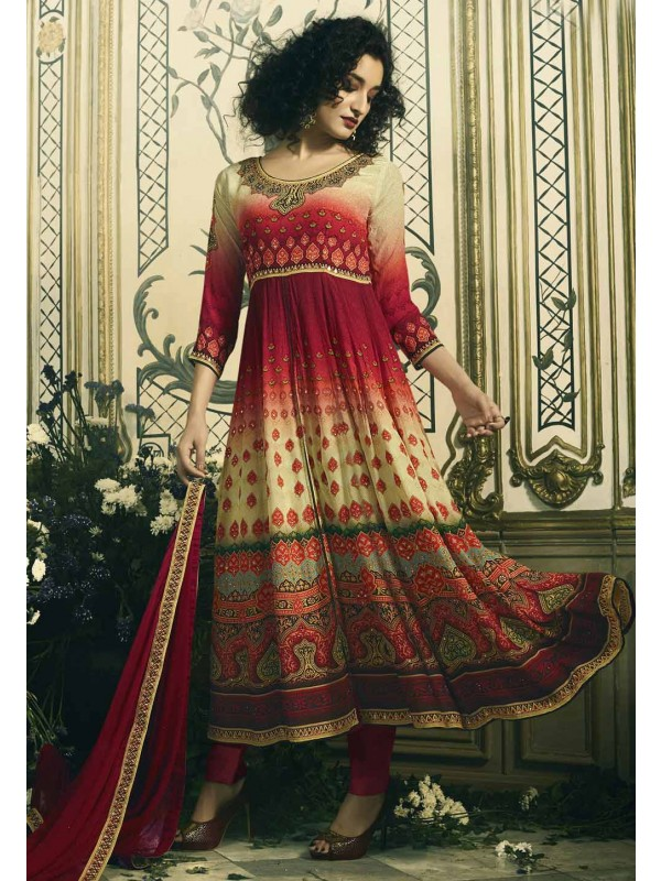 Red Color Printed Designer Salwar Kameez