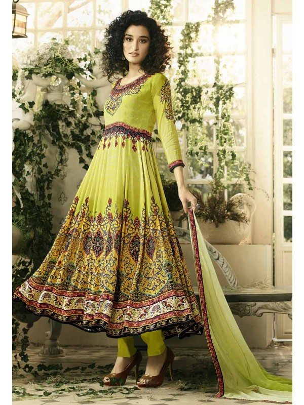 Green Color Crepe Silk Anarkali Salwar Kameez