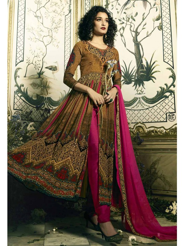 Brown Color Designer Salwar Kameez in Digital Print Work