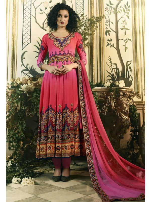 Beautiful Pink Color Anarkali Salwar Kameez