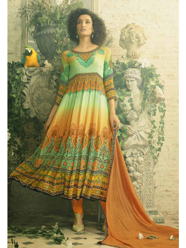 Anarkali Style Incredible Salwar Kameez in Orange Color