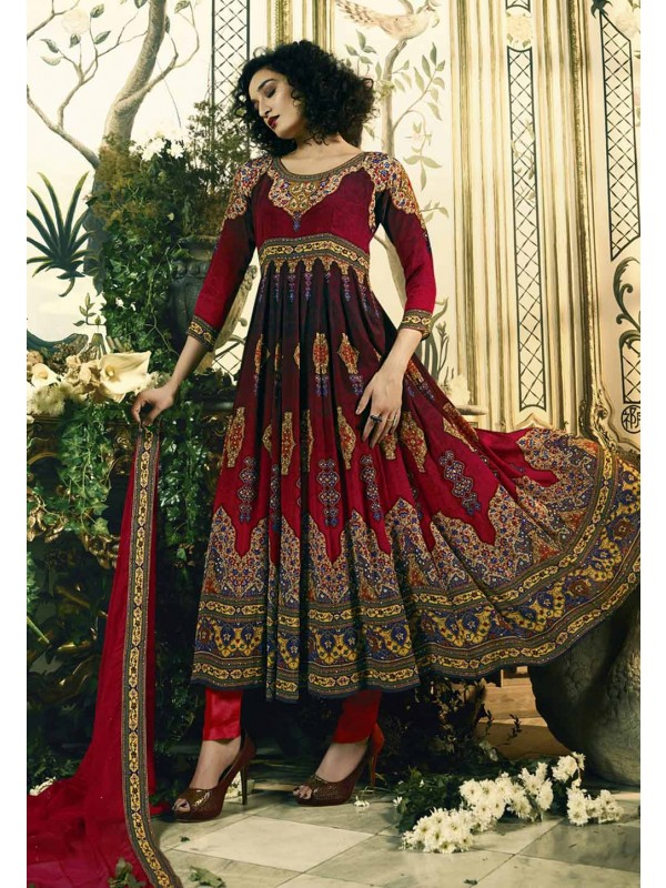 Nice Looking Red Color Party Wear Salwar Kameez