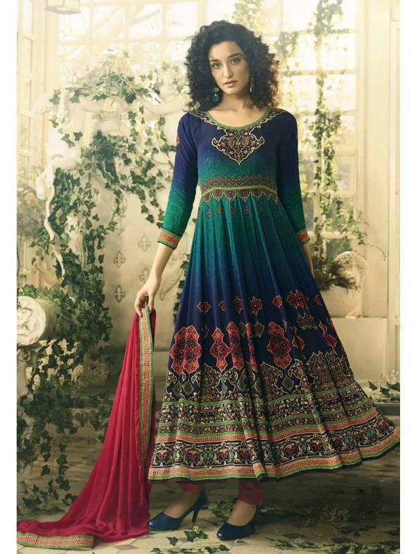 Anarkali Style Blue Color Astounding Salwar Kameez
