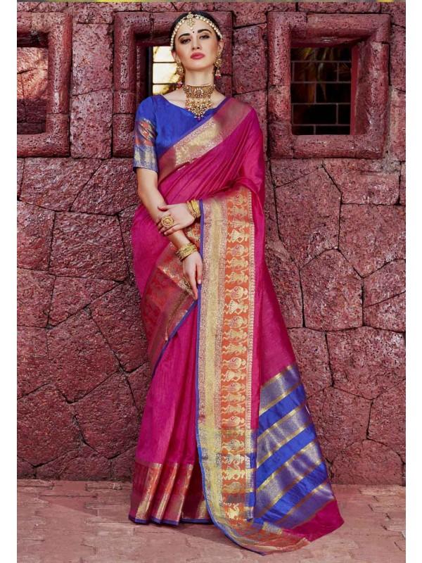 Wonderful Printed Pallu Saree in Pink Color