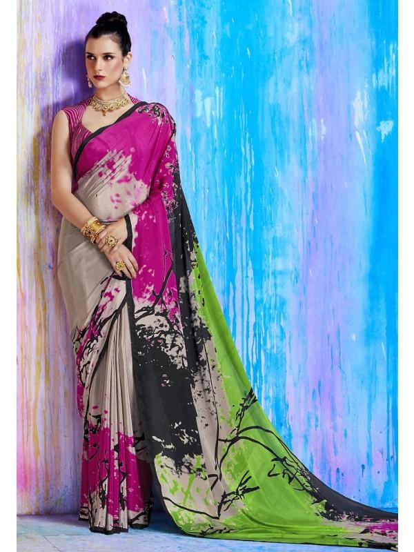 Astounding Pink,Beige Color Printed Saree