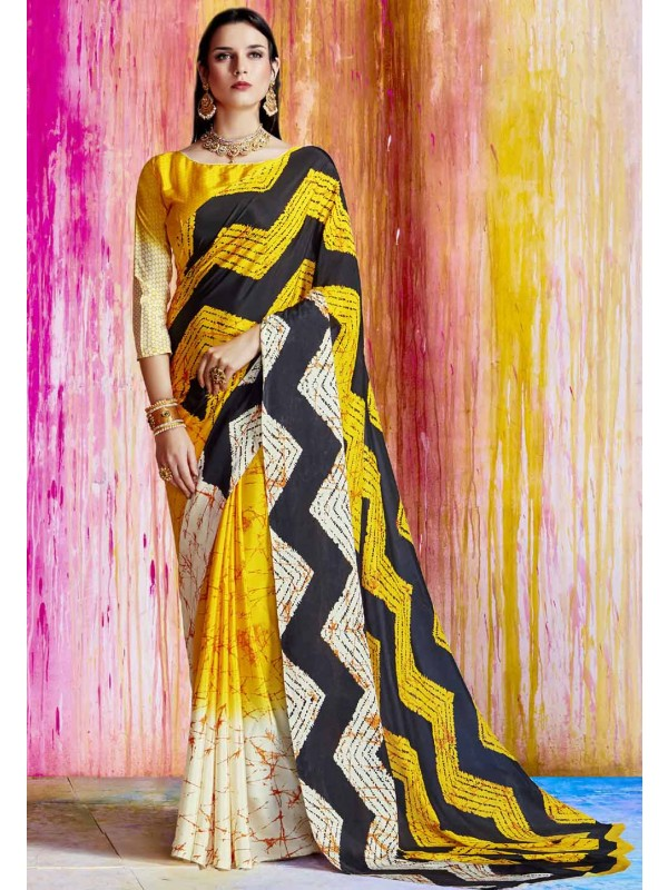 Party Wear Saree in Yellow,Black Color