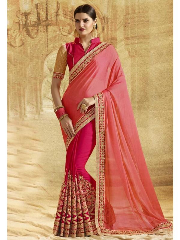 Peach Color Designer Bridal Saree