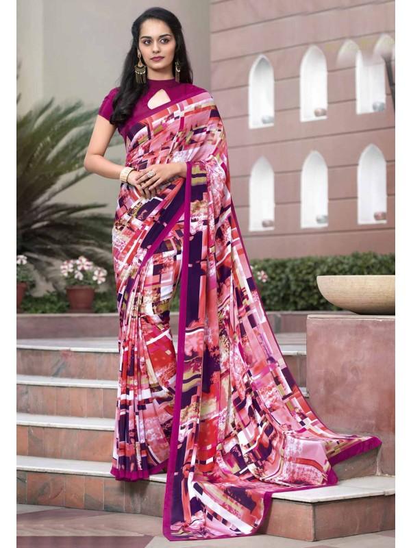 Pink Crepe Silk Saree With Charming Plain Pallu