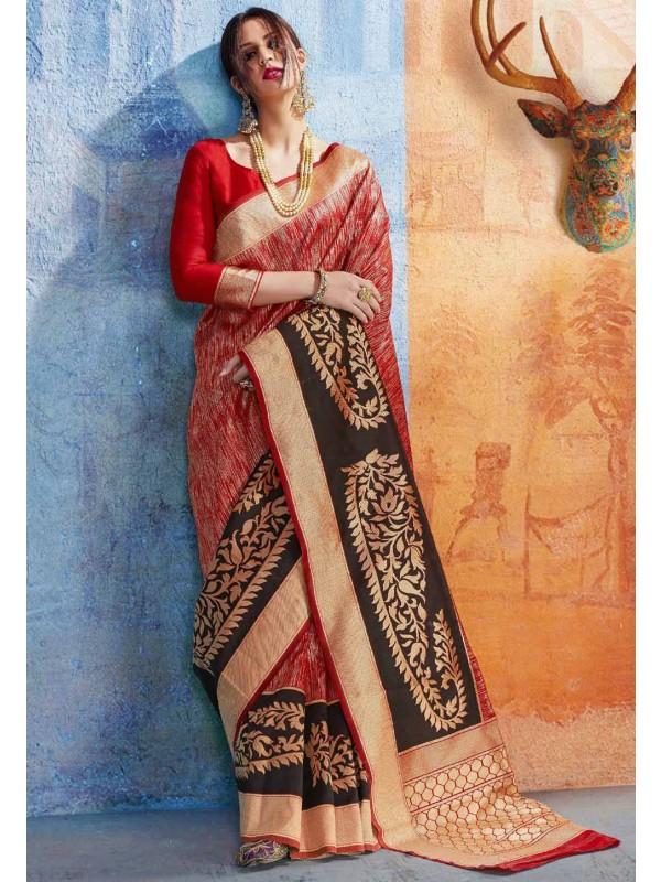 Red Silk Traditional Designer Saree