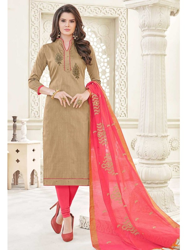 Brown Color Cotton Salwar Kameez