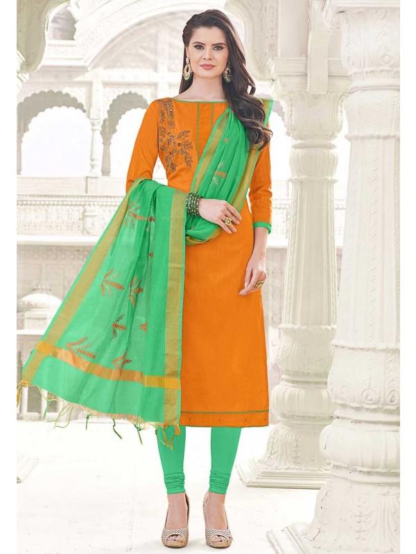 Orange Cotton Incredible Unstitched Salwar Kameez