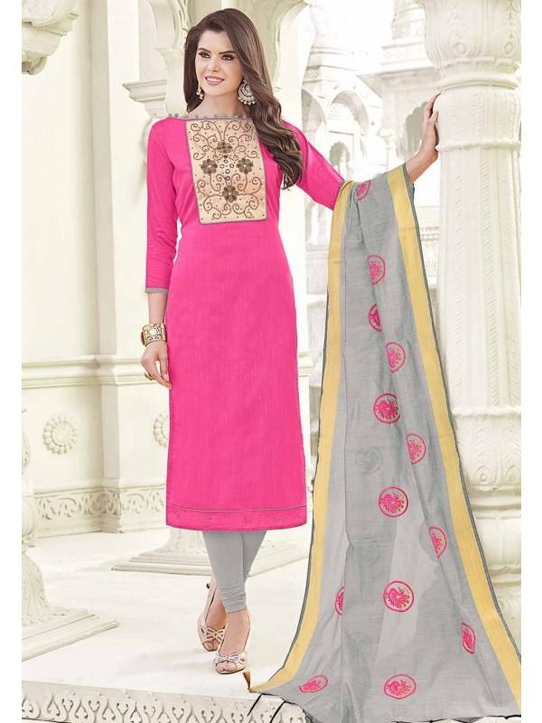 Nice Looking Pink Color Cotton Salwar Kameez