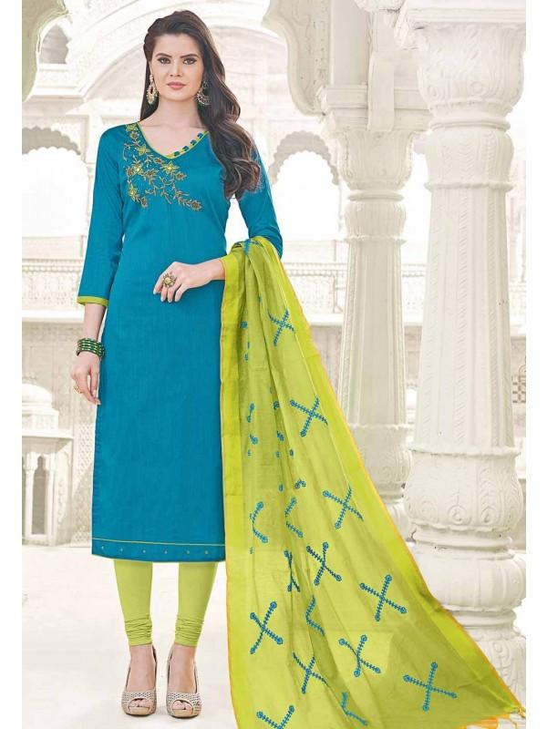 Straight Cut Style Blue Cotton Casual Salwar Kameez