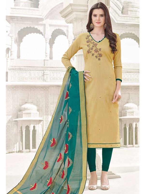 Beautiful Beige Cotton Salwar Kameez