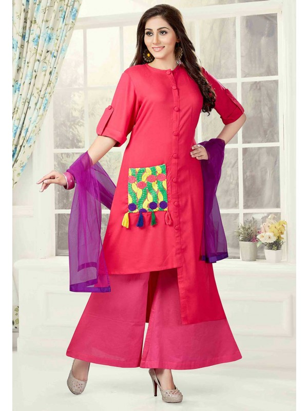 Plazzo Style Pink Color Readymade Salwar Kameez.