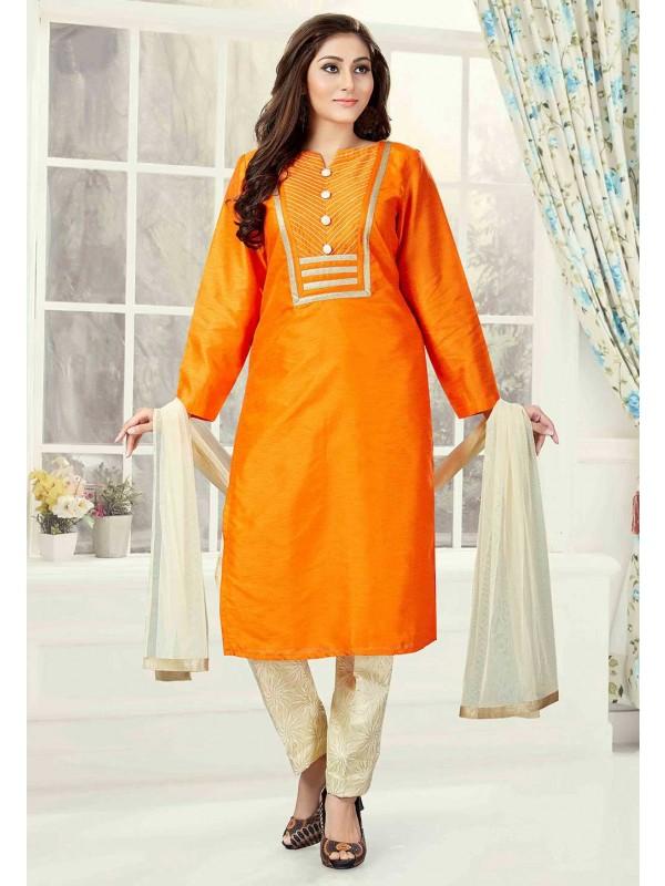 Orange Color Art Silk Readymade Salwar Kameez.