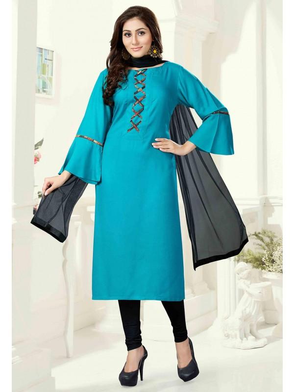 Green Color Cotton Salwar Kameez.