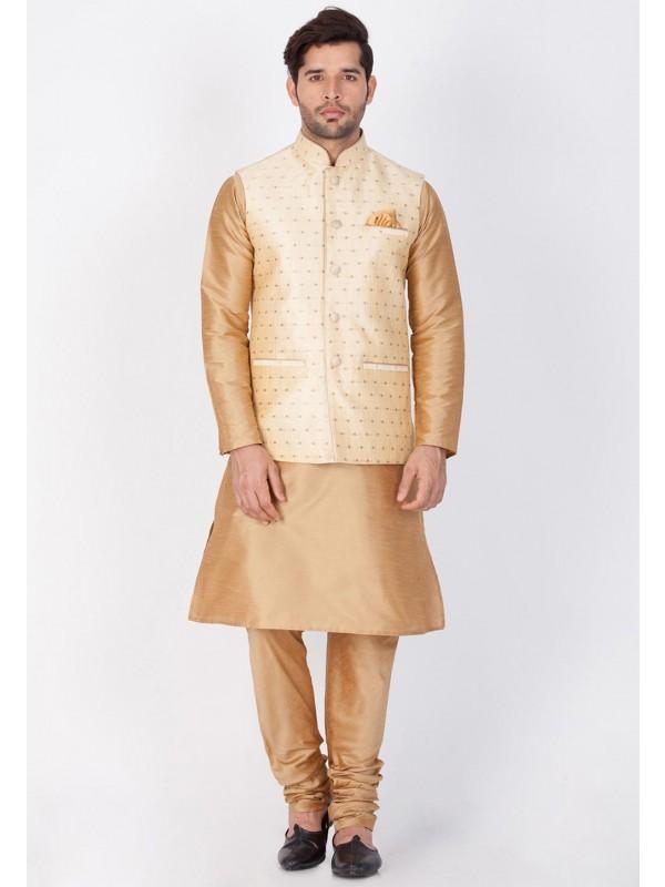 Golden,Cream Color Readymade Kurta Pajama.