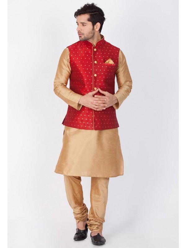 Golden,Red Color Party Wear Kurta Pajama.