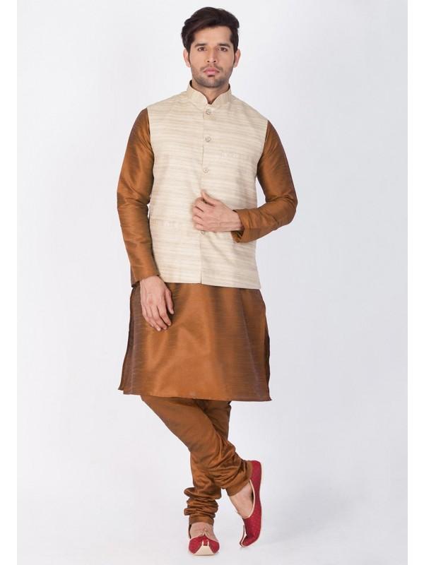 Brown,Beige Color Kurta Pyjama.