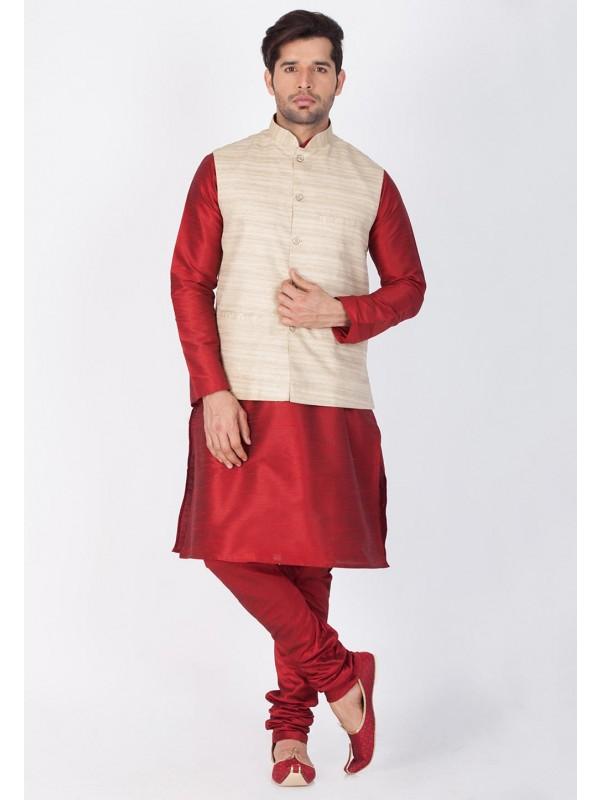 Maroon,Beige Color Kurta Pajama Jacket.