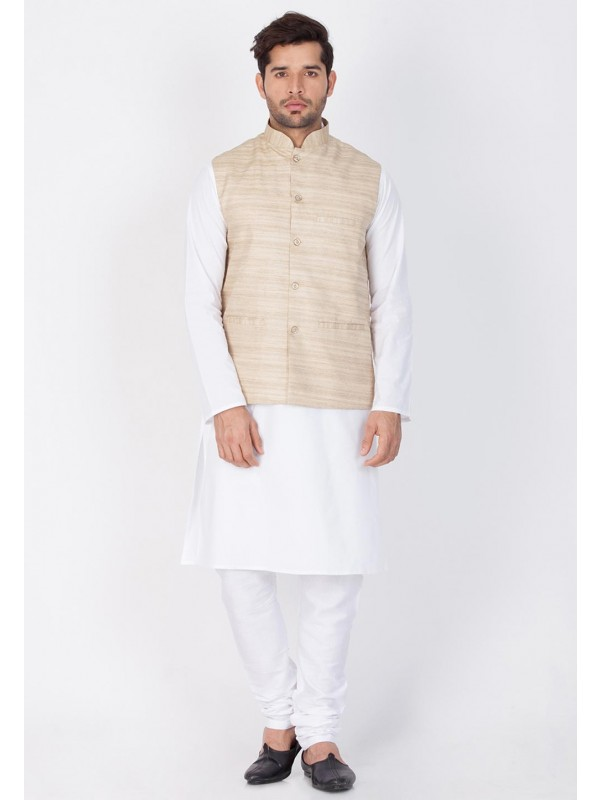 White,Beige Color Kurta Pajama With Jacket.