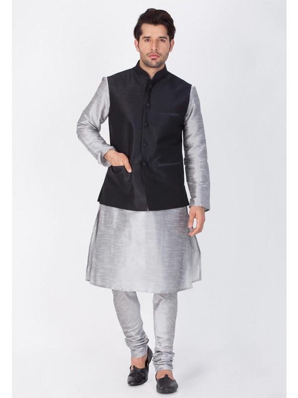 Grey,Black Color Cotton Silk Kurta Pajama.