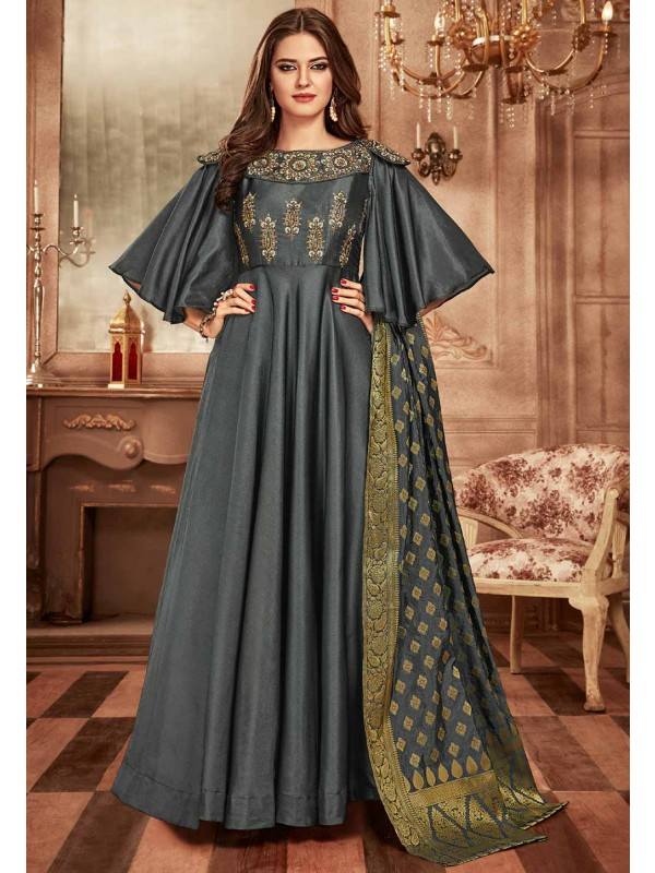 Grey Colour Indowestern Gown.