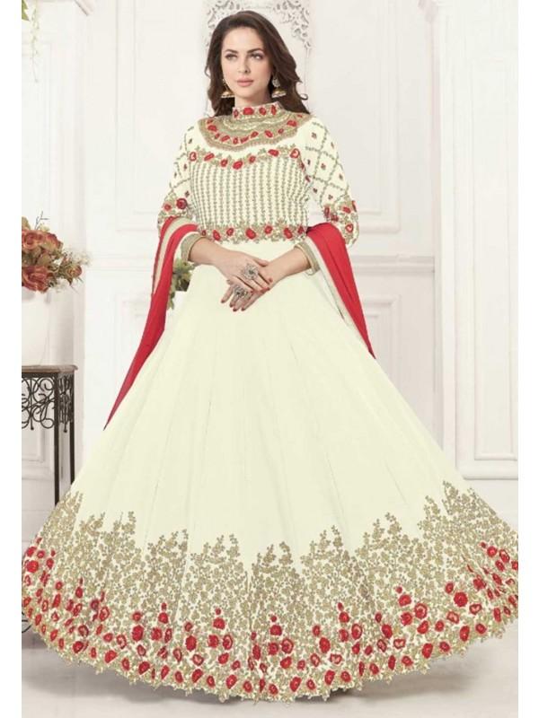Cream Colour Anarkali Salwar Kameez.