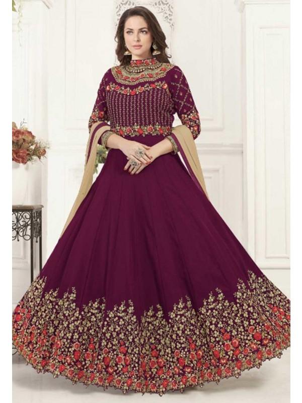 Wine Colour Designer Salwar Suit.