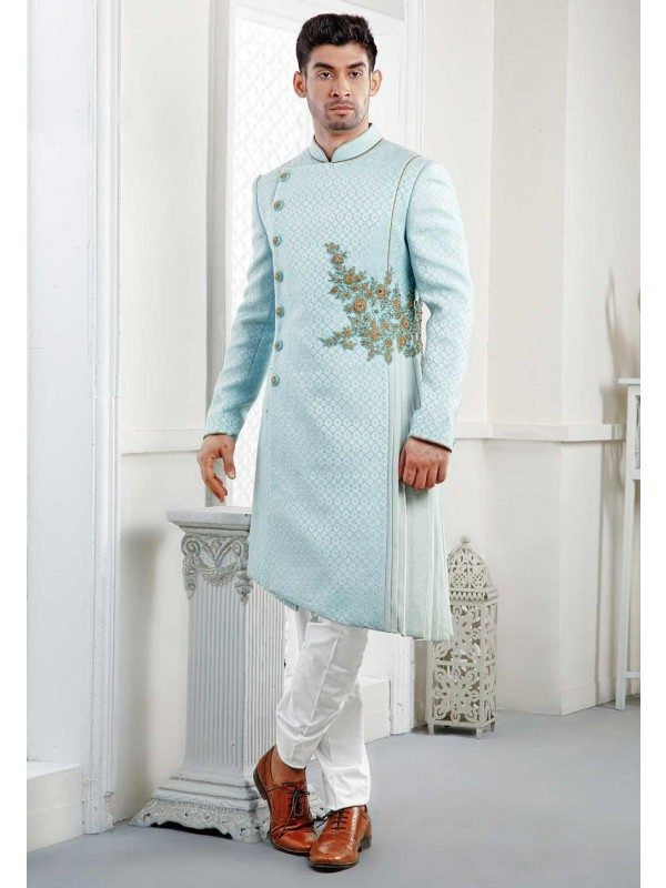 Exclusive Sky Blue Designer Indowestern.