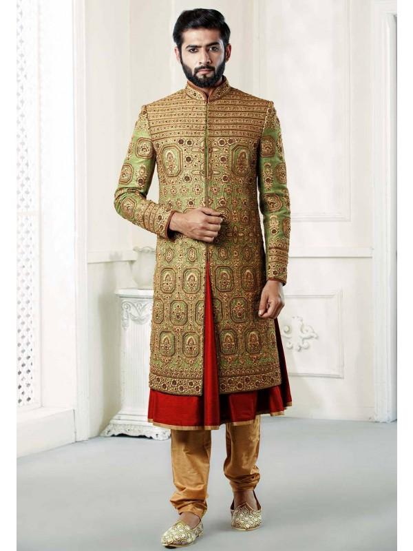 Green Colour Designer sherwani.