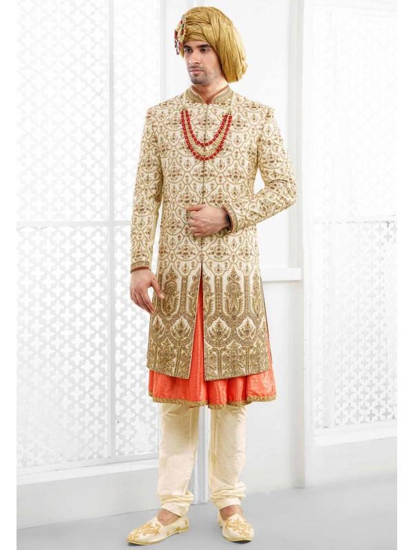 Wedding Wear Cream Sherwani for Men.