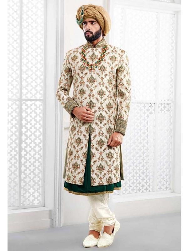 Off white Indian Wedding Sherwani.