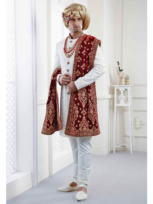 Embroidered Sherwani with heavy Dupatta