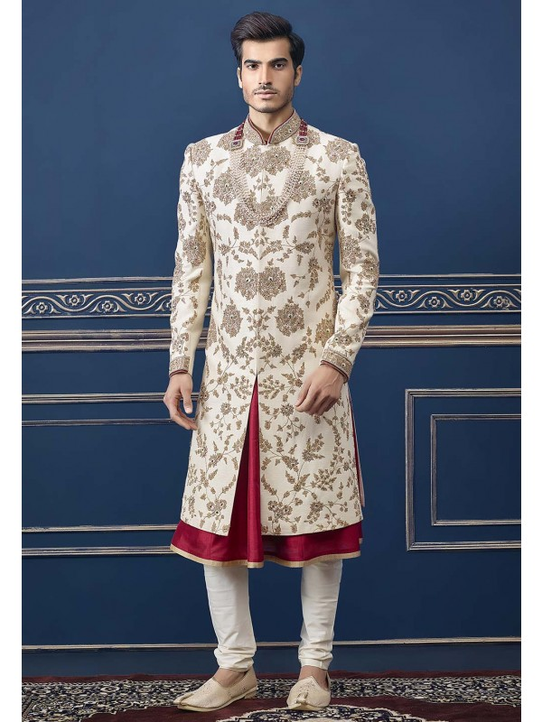 Rajputi Stylish Cream Colour Wedding Sherwani.