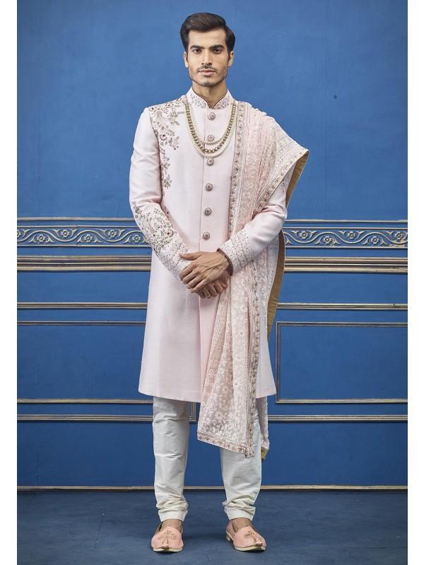 Baby Pink Colour Indian Groom Sherwani.